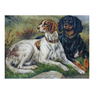 Antique Sporting Dogs Portrait Oil Painting g