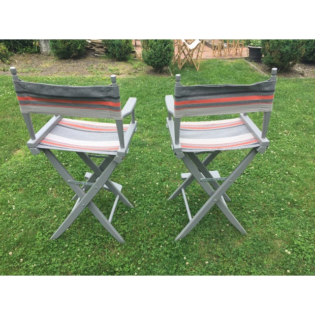 Gray and Orange Striped Director's Chairs - A Pair - Image 5 of 10