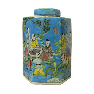 Chinese Blue Kids Playing Theme Porcelain Hexagon Jar cs2621 For Sale