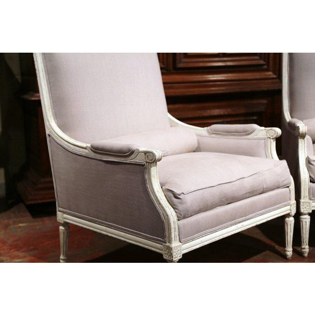 Canvas Pair of 19th Century French Louis XVI Carved Painted Armchairs With Pillows For Sale - Image 7 of 9