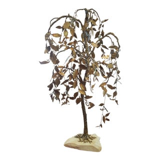 Vintage Mid-Century Twisted Metal Weeping Tree Sculpture For Sale
