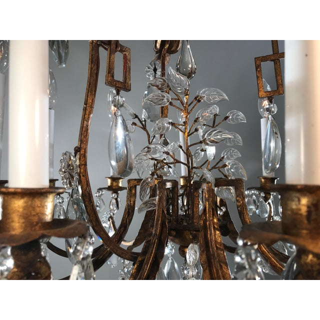 1930 French Gilt Tole & Crystal Chandelier For Sale - Image 10 of 11