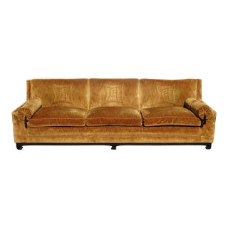 Vintage Mid Century Modern Chinoiserie Gold Velvet Ming Sofa Couch W Asian Motif For Sale