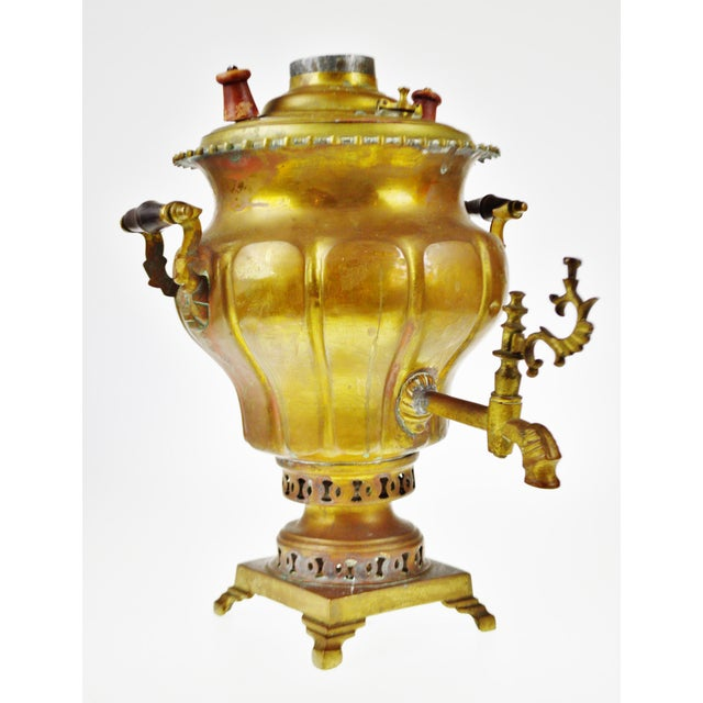 """Early Brass Pear Shaped Russian Samovar Marked Approximate Dimensions: 17"""" high x 13"""" wide x 14"""" deep Approximate Weight:..."""