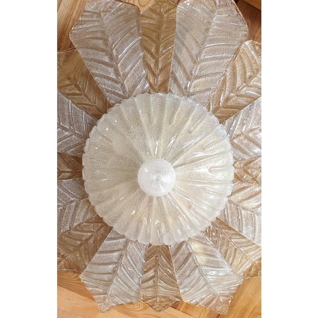 Mid Century Modern Leaf Murano Glass Flush Mount Light by Barovier 1960- 2 Available For Sale - Image 6 of 11