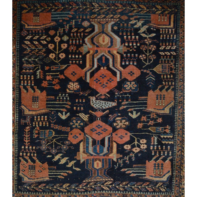 "Antique Persian Rug - 4'5"" x 4'10"" - Image 5 of 7"
