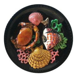 1950s Vallauris Palissy French Majolica Trompe l'Oeil Seafood Plate