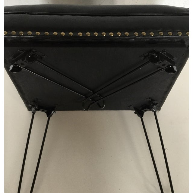Modern Black Leather Occasional Stool Folding Legs For Sale - Image 10 of 11