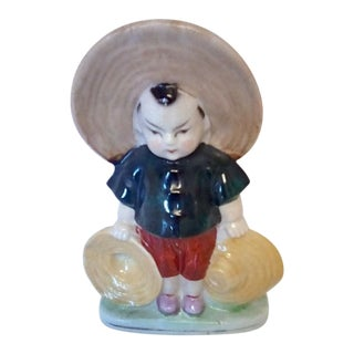 20th Century Japanese Boy Figurine Toothpick Holder For Sale