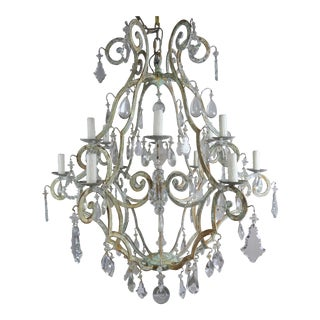 Monumental Painted Wrought Iron Crystal Chandelier