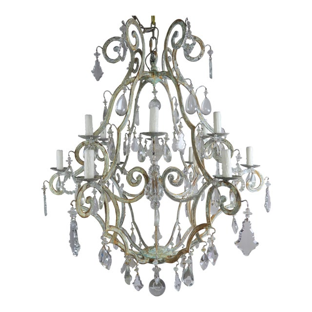 Monumental Painted Wrought Iron Crystal Chandelier For Sale