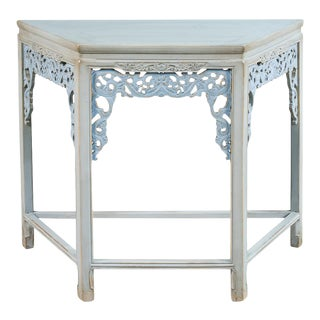 Carved Elm Fretwork Console