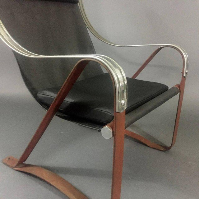 1930s McKay Craft Leather and Steel Sling Chair For Sale In New York - Image 6 of 8