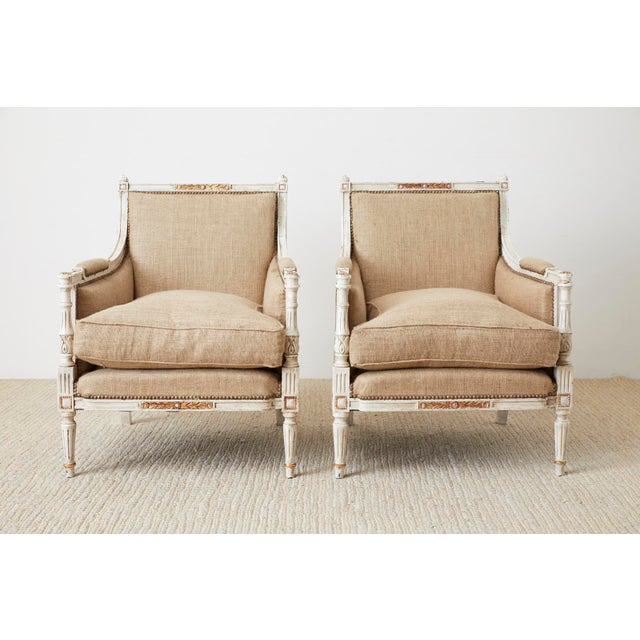 Metal Pair of Louis XVI Swedish Gustavian Style Bergère Armchairs For Sale - Image 7 of 13