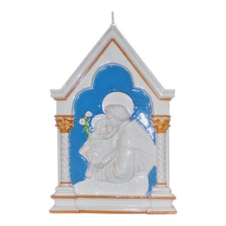 """""""Saint Anthony and The Infant Jesus"""" Della Robbia Style Ceramic Wall Plaque"""