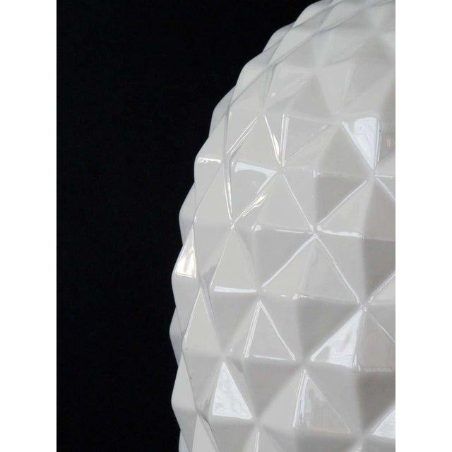 1960s A Robust and Large-Scaled Pair of Italian 1960's White Ceramic Pineapple-Form Lamps For Sale - Image 5 of 6