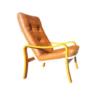 Swedish Mid-Century Modern Plywood and Leather Patchwork Lounge Chair For Sale