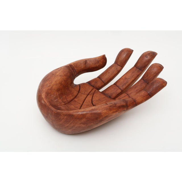 Boho Chic Vintage Oversized Hand Carved Solid Wood Hand Sculpture Tray For Sale - Image 3 of 6