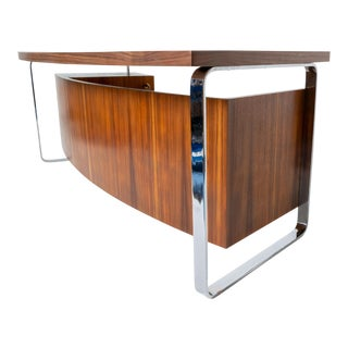 Mid Century Mexican Modernist Executive Desk by Dixie, Chrome & Exotic Walnut Wood For Sale