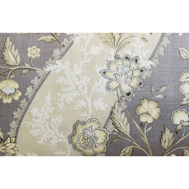 "Floral Linen & Velvet Feather/Down Pillows 26"" X 16"" - Pair For Sale - Image 4 of 12"