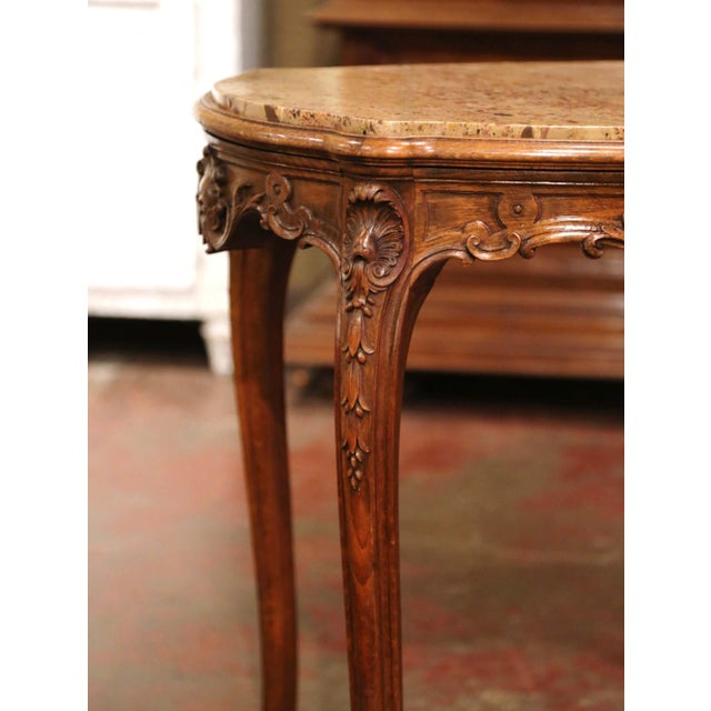 Beige 19th Century French Louis XV Carved Oak Side Table With Beige Marble Top For Sale - Image 8 of 13