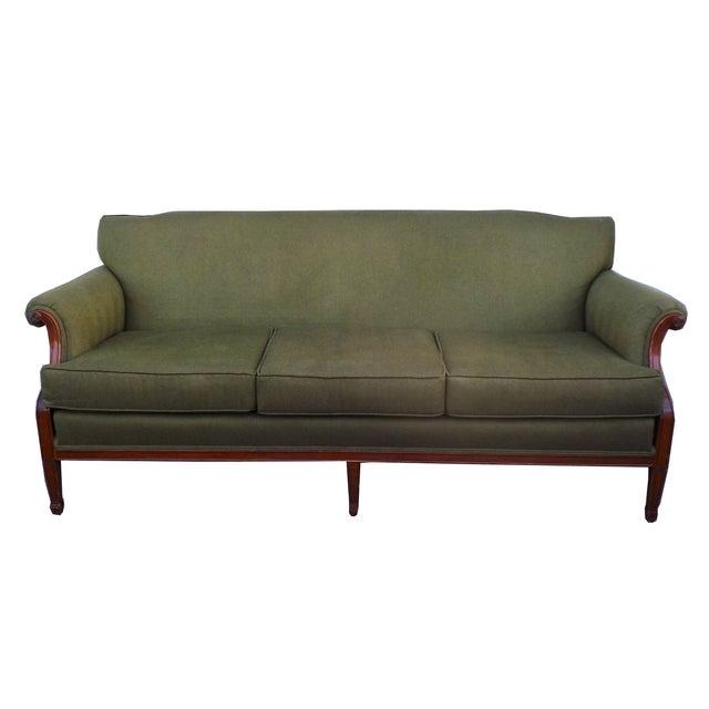 Hollywood Regency Vintage Wood Trimmed Sofa - Image 1 of 7