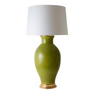 "Paul Schneider Ceramic ""Matagorda"" Lamp in Glossy Olive Glaze For Sale"