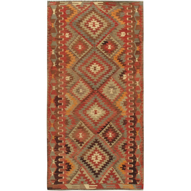 "Traditional Vintage Turkish Kilim Rug 5'2"" X 10'2"" For Sale - Image 3 of 3"