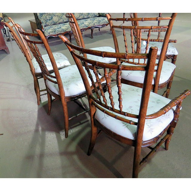 Mid Century Faux Bamboo Dining Chairs - Set of 6 For Sale - Image 9 of 10