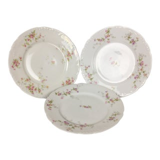 Vintage Floral China Plates- Unmarked Set of 3 For Sale