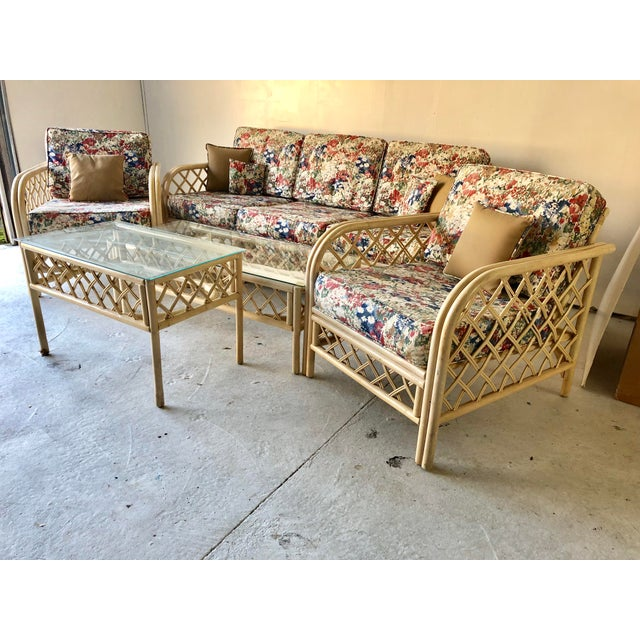 Hollywood Regency Hollywood Regency Style Rattan/Bamboo Patio Set of 5 For Sale - Image 3 of 9