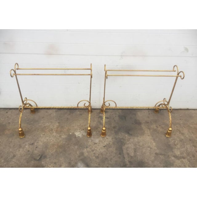 Gold Gilt Tassel Metal Towel Rack - a Pair For Sale - Image 4 of 5