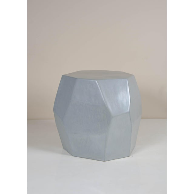 Robert Kuo Faceted Drumstool - Grey Lacquer For Sale - Image 4 of 4