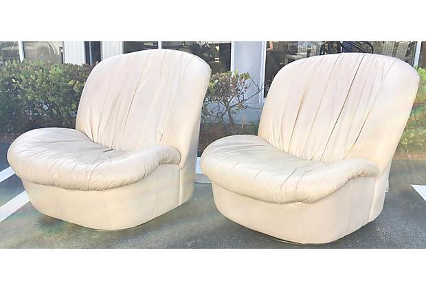 Vintage Leather Swivel Slipper Chairs   A Pair   Image 5 Of 6