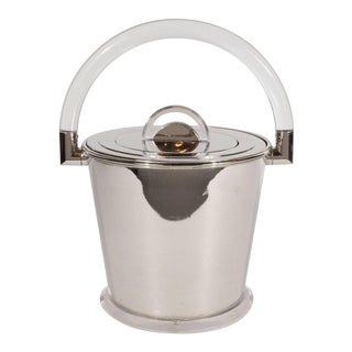 Italian Mid-Century Modern Chrome and Lucite Ice Bucket by Montagnini & Co.