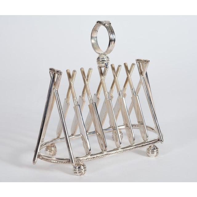 Vintage English Silver Plate Cricket Sport Design Toast Rack For Sale - Image 10 of 10