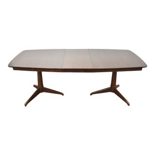 Walnut Expandable Pedestal Dining Table For Sale