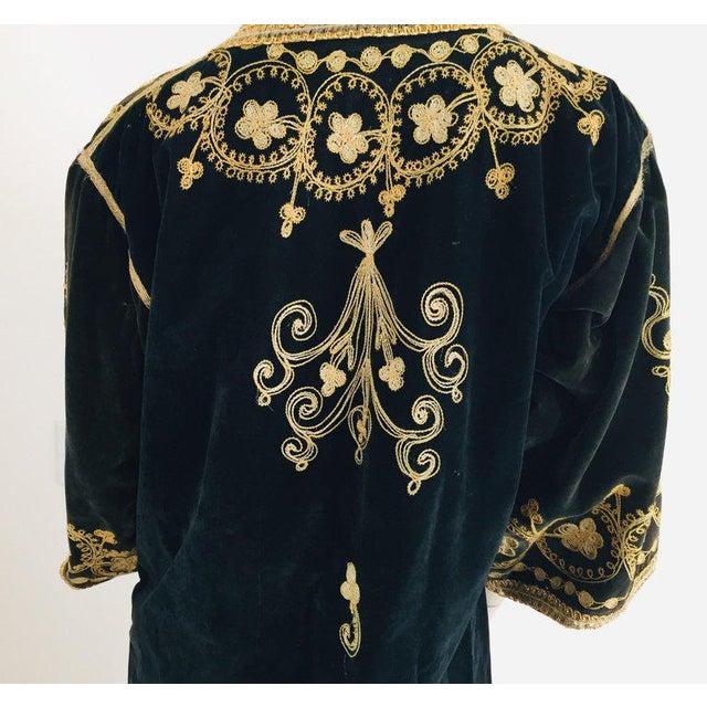 Vintage Caftan, Black Velvet and Gold Embroidered, 1960s For Sale In Los Angeles - Image 6 of 13