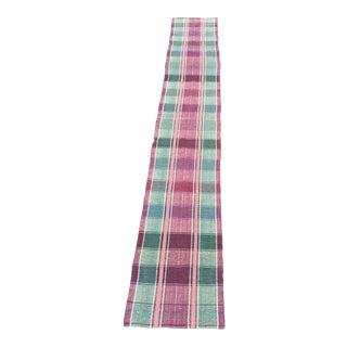 """Vintage European Green & Pink Rag Runner Rug - 14'5""""x 2'"""