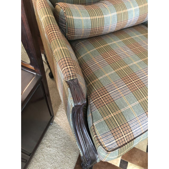 2010s Ralph Lauren Carved Mahogany and Plaid Upholstered Club Chair For Sale - Image 5 of 9