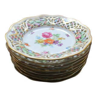 1920s Chateau Dresden Schumann Bavaria China Reticulated Bread Plates - Set of 8 For Sale