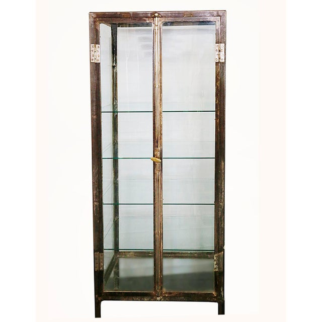 20th Century Industrial Steel Two Door Glass Shelved Display Cabinet