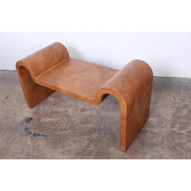 Karl Springer Goatskin Parchment Bench For Sale - Image 11 of 13