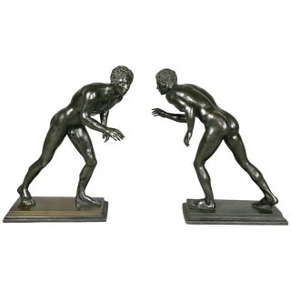Pair of Italian Grand Tour Bronze Figures of Wrestlers For Sale