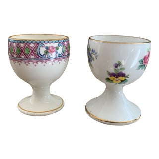 Antique English Staffordshire and Minton's China Egg Cups-Set of Two For Sale