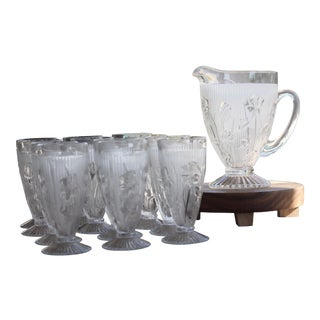 1930s Iris and Herringbone Crystal Pitcher & Footed Tumblers - Set of 13 For Sale