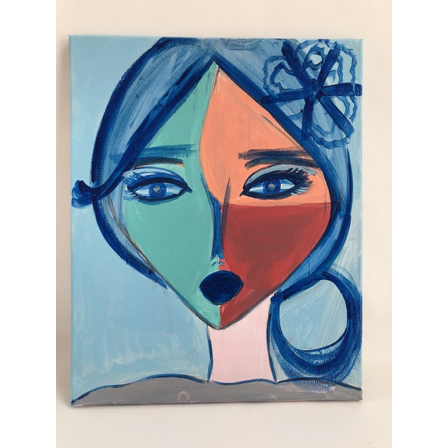 """Abstract Anastasia George """"Cléo"""" Original Face Acrylic Painting For Sale - Image 3 of 5"""
