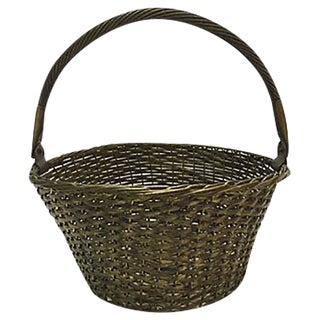 Vintage Woven Brass Basket For Sale