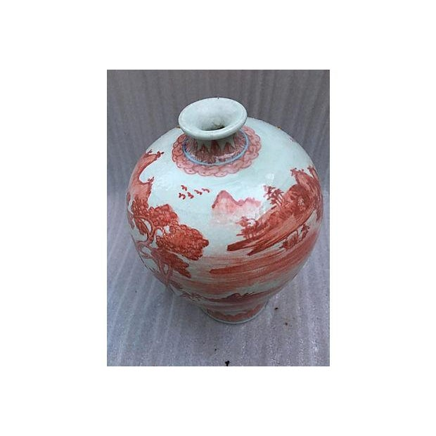 Chinese Hand Painted Coral Village Scene Vase - Image 3 of 6