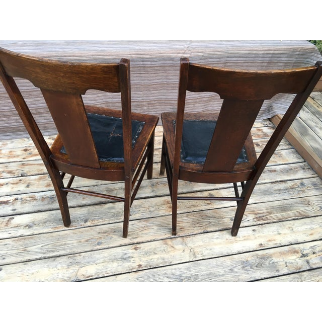 Early 20th Century Early 20th Century Heywood and Wakefield Brothers Arts and Crafts Mission Style Side Chairs- A Pair For Sale - Image 5 of 10